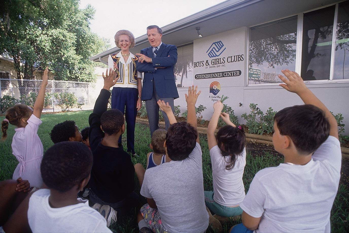 George Steinbrenner and his wife Joan answer questions from youth members of the Steinbrenner Center Boys & Girls Club on May 3, 1990 in Tampa, Fla.