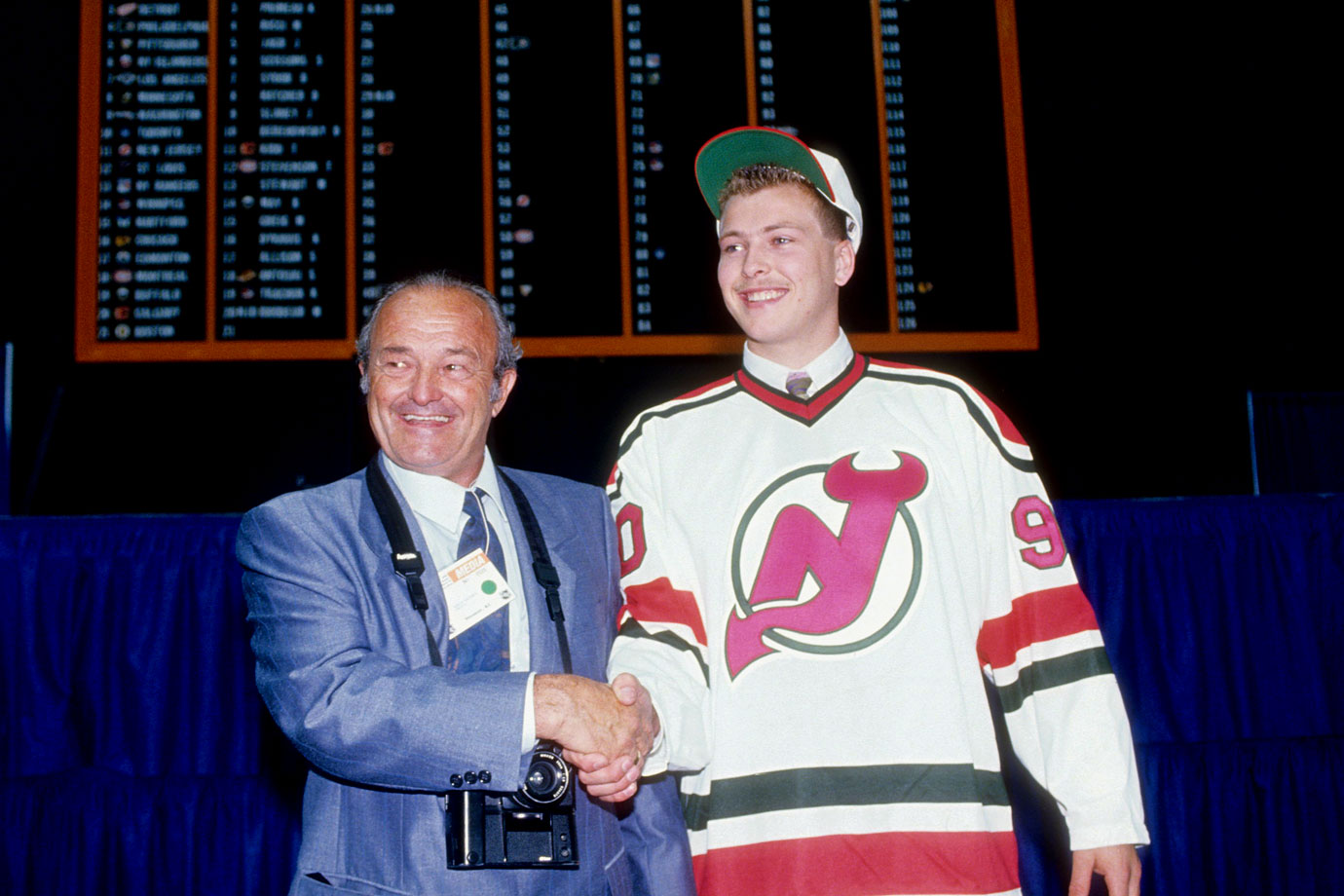 Drafted out of the Quebec Major Junior Hockey League by the Devils with the 20th pick in the 1990 draft, Brodeur made his NHL debut on March 26, 1992, with 24 saves in a 4-2 win over Boston.