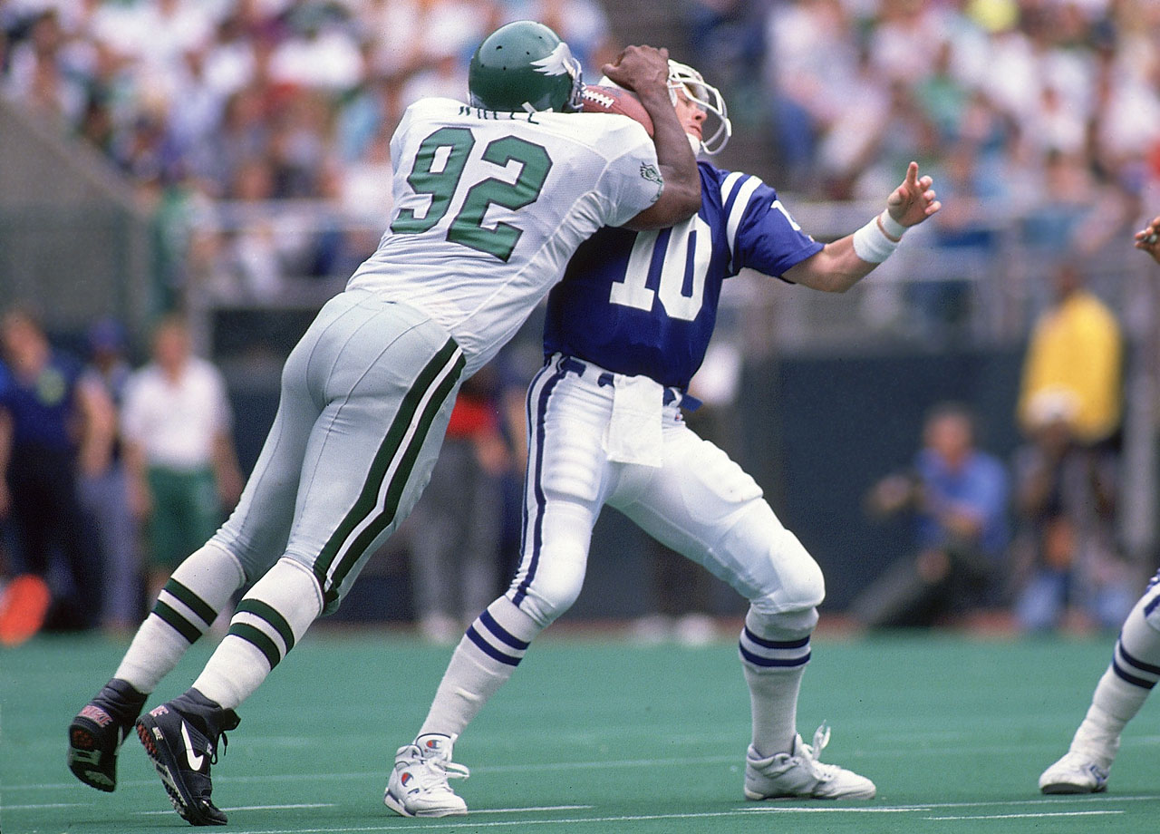 Philadelphia Eagles DE Reggie White sacks Indianapolis Colts QB Jack Trudeau on Sept. 30, 1990 in Philadelphia.