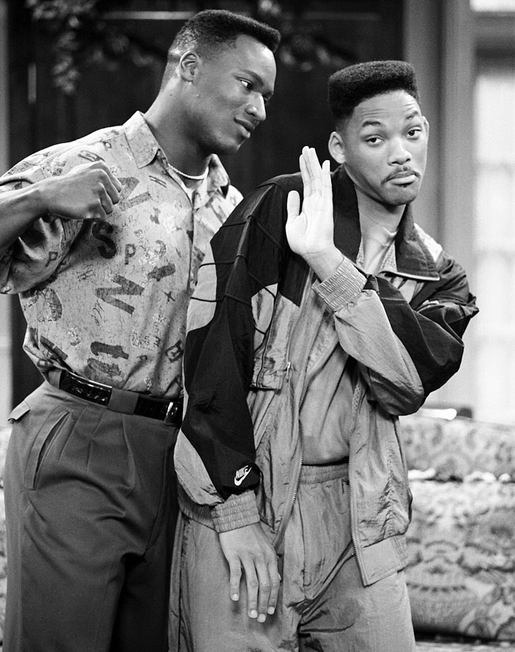 Bo Jackson messes around with Will Smith while filming the Fresh Prince of Bel-Air episode ''Someday Your Prince will be in Effect: Part 1 & 2.''