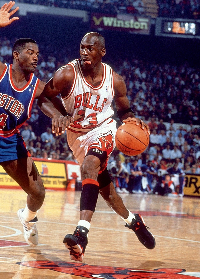 Michael Jordan drives on the Detroit Pistons' Joe Dumars in Game 2 of the 1991 Eastern Conference Finals. Jordan dropped 35 points in the Bulls' win, the second of four straight to finally oust the Pistons in the playoffs after Detroit eliminated them in each of the two prior seasons.