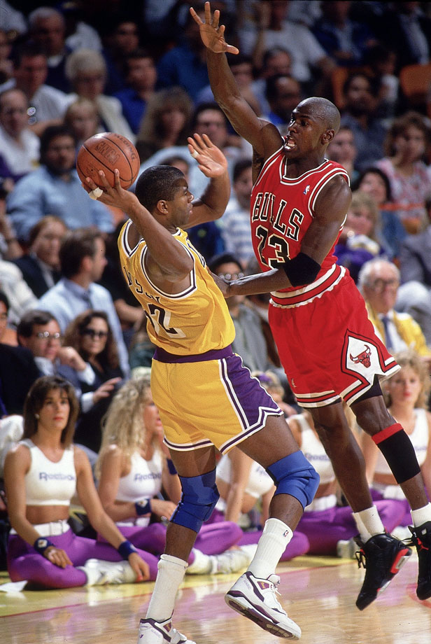 Michael Jordan pressures Magic Johnson in Game 3 of the 1991 NBA Finals. Jordan's defense was a source of great frustration for the Lakers as he tallied 14 steals and seven blocks in the five-game series.