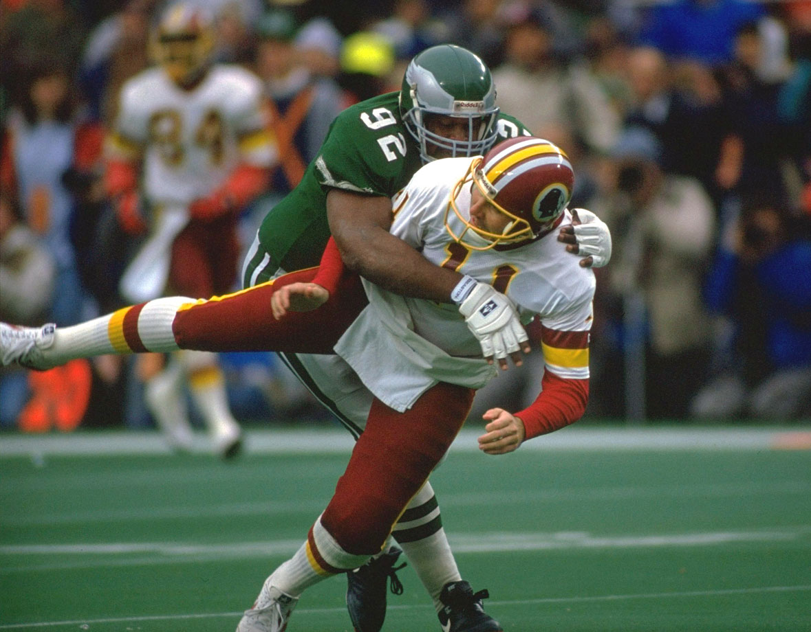 Philadelphia Eagles DE Reggie White sacks Washington Redskins QB Mark Rypien during the NFC playoffs on Jan. 5, 1991 in Philadelphia.