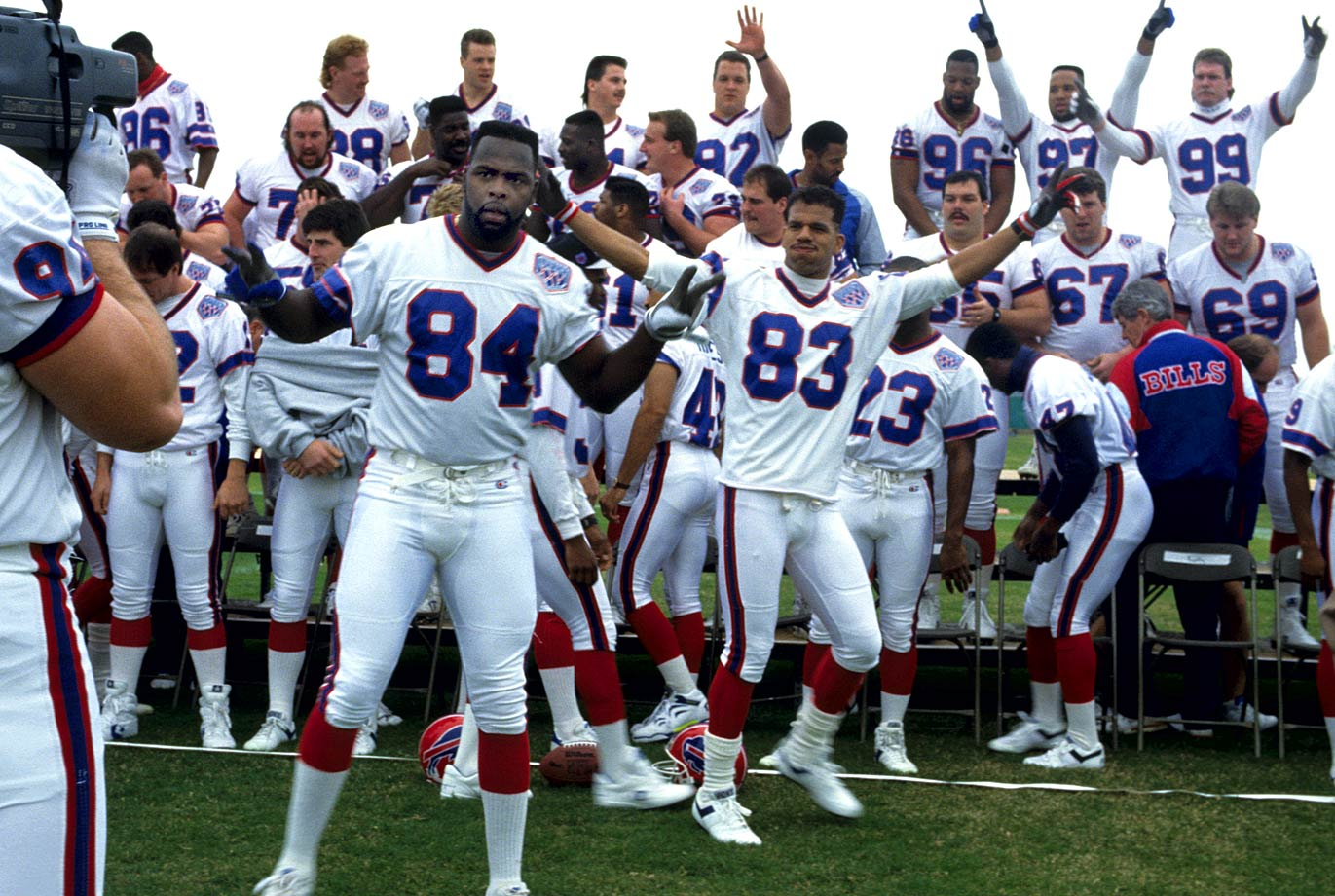 Buffalo Bills players leave a grandstand cheering during Super Bowl XXV Media Day. They weren't cheering a few days later as they fell to the Giants, 20-19, before 73,813 fans at Tampa Stadium.