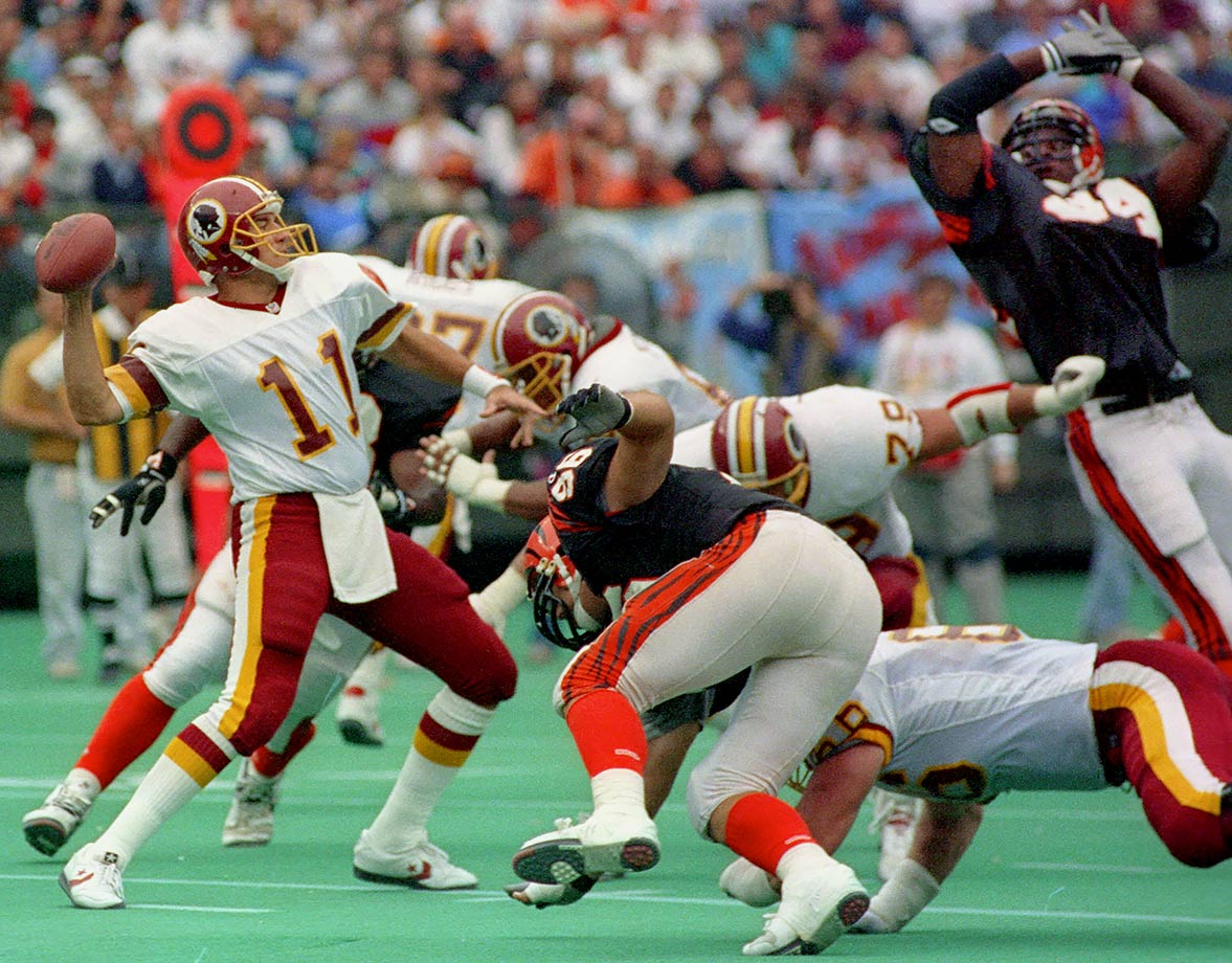 In a season that culminated with a 37-24 victory over Buffalo in Super Bowl XXVI, Mark Rypien and the Redskins gave an early glimpse of their dominance by winning their first 11 in a row. The only losses they incurred that season were in Week 13 to the Cowboys and in Week 17 to the Eagles.