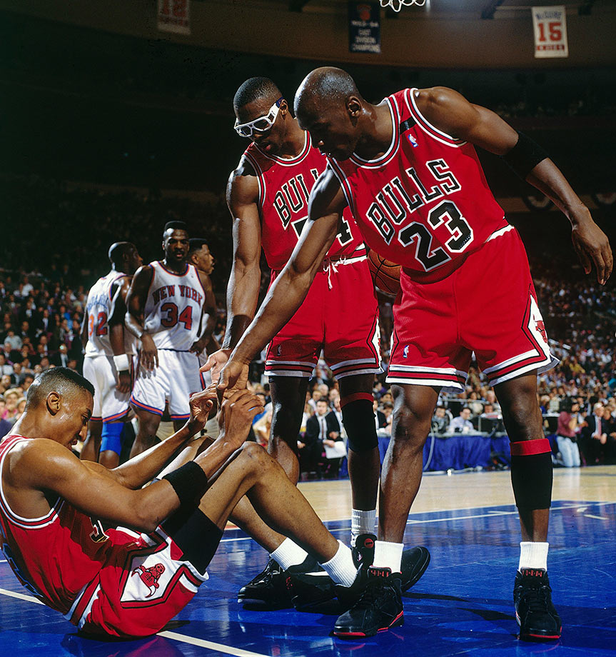 Michael Jordan and Horace Grant helped up Scottie Pippen in Game 6 of the Eastern Conference Semifinals in 1992. The Bulls needed all seven games to get past the Knicks, dominating New York 110-81 in the final game.