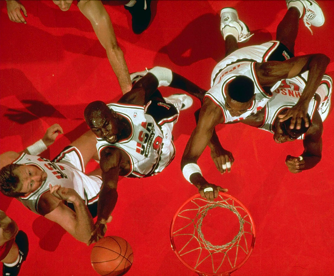 Michael Jordan reaches for a rebound in the gold-medal game at the 1992 Summer Olympics. Just like every other team the Dream Team faced, Croatia was no match for Team USA, falling 117-85. Jordan scored 22 points to help win his second Olympic gold medal.
