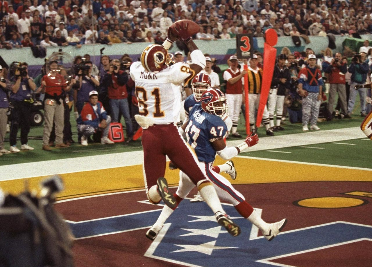 Art Monk appears to catch a touchdown pass over Buffalo cornerback Kirby Jackson. A video review overturned the call when replay revealed his foot landed out of bounds. It was the first time a touchdown was overturned by instant replay in a Super Bowl, although the Redskins went on to win 37-24.