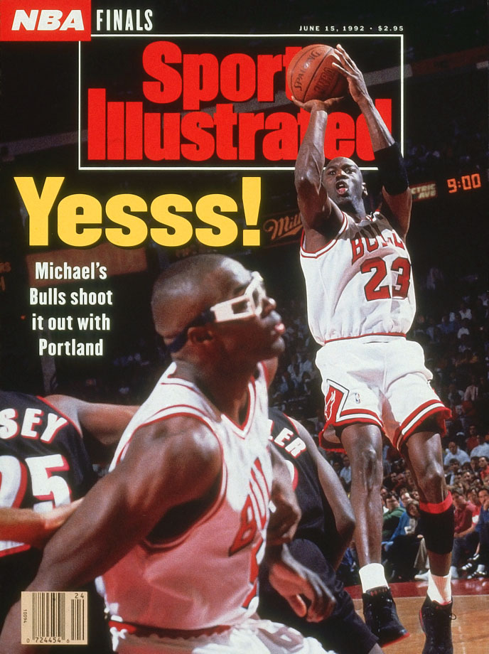 Michael Jordan hit six three-pointers and scored 35 points in the opening half against the Trail Blazers. Chicago coasted to a 122-89 victory.