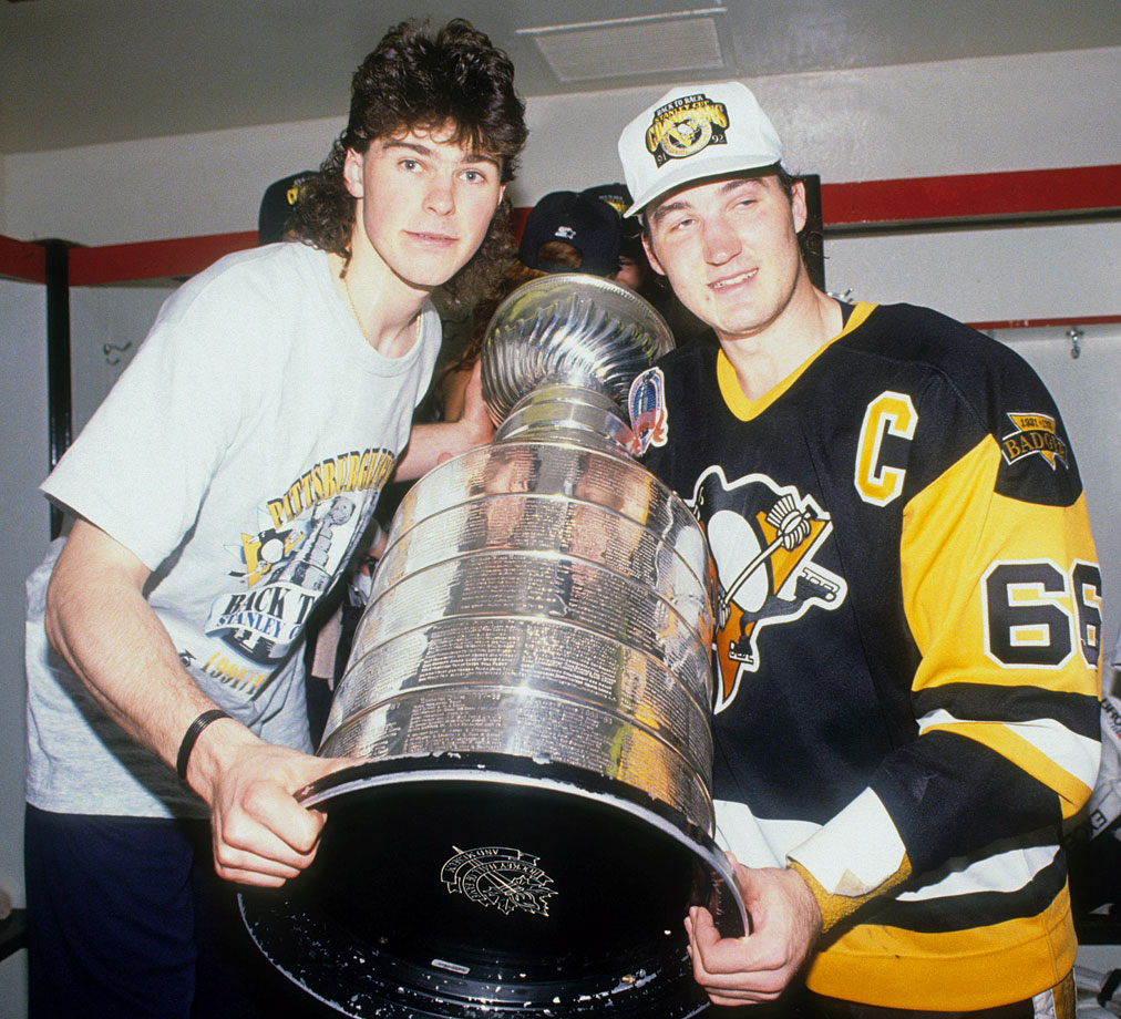 At Chicago Stadium, Pittsburgh's dynamic duo grabbed Lord Stanley's old mug for the second year in a row after their finals sweep of the Blackhawks. Lemieux led the playoffs in scoring and was the repeat Conn Smythe winner. Jagr's mullet remains a classic that should be enshrined in the Hockey Hair Hall of Fame.