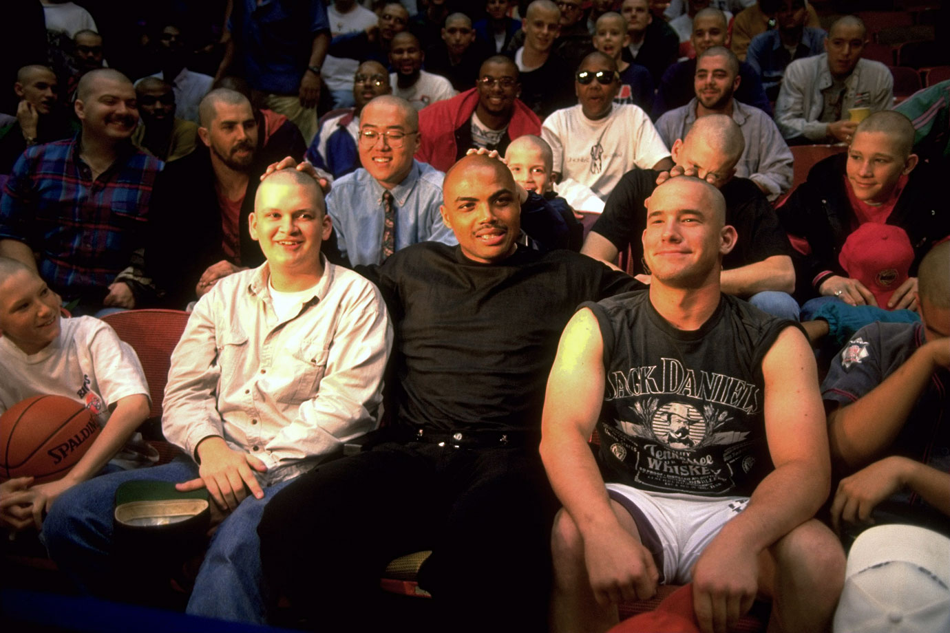 Charles Barkley has some fun with fans before a game against the Houston Rockets. He averaged 25.6 points and 12.2 rebounds per game during that season, his seventh of 11 straight All-Star seasons.