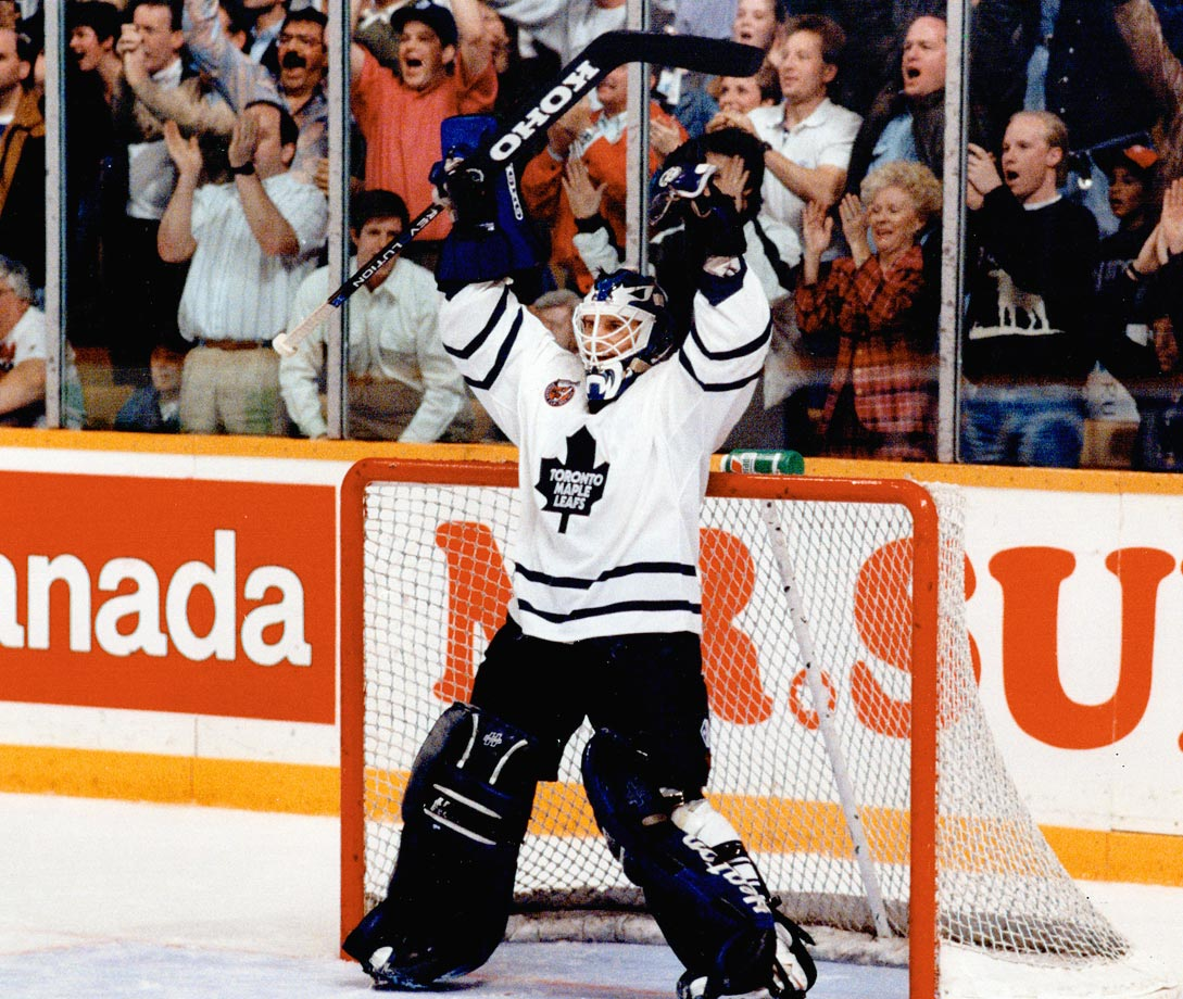 Potvin shouldn't have caught anyone by surprise by the time the 1993 playoffs rolled around. A Memorial Cup finalist, a World Junior gold medal winner and the NHL leader in goals-against average as a rookie, he had a knack for rising to the occasion. He built on that rep in the postseason, leading the surprising Leafs past the Red Wings and Blues in seven games each before succumbing to the Kings in Game 7 of the Campbell Conference Finals.