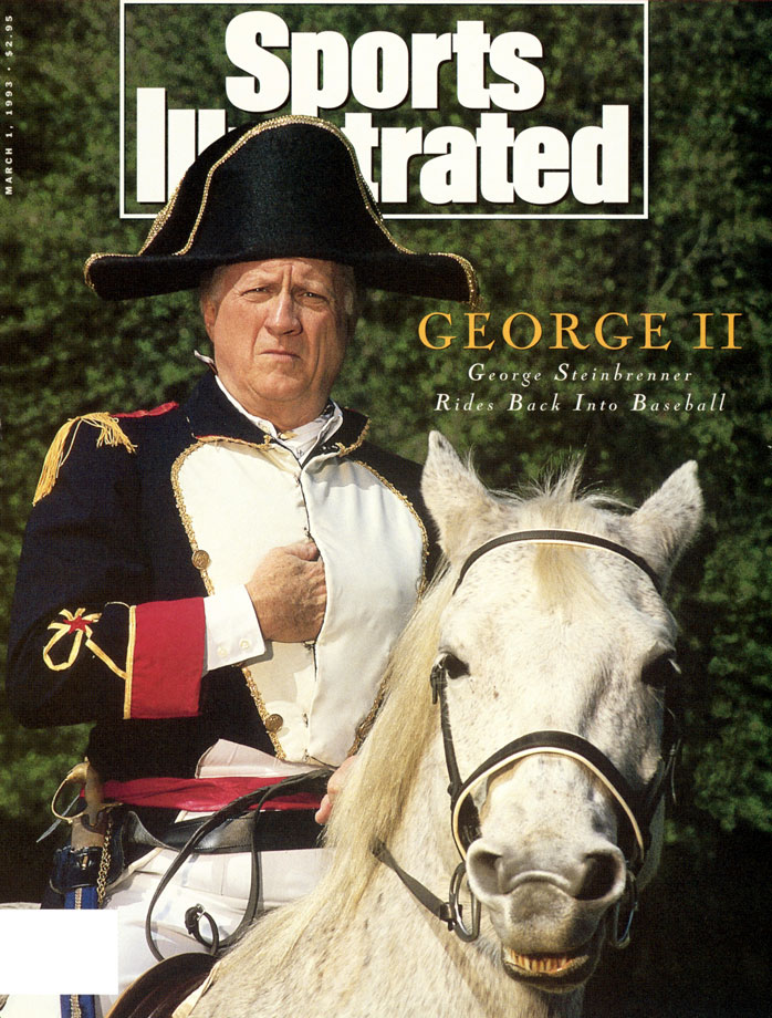 George Steinbrenner poses dressed as Napoleon on a horse on Feb. 15, 1993 at his home in Tampa, Fla., for the cover of Sports Illustrated after his lifetime ban from Major League Baseball was lifted.
