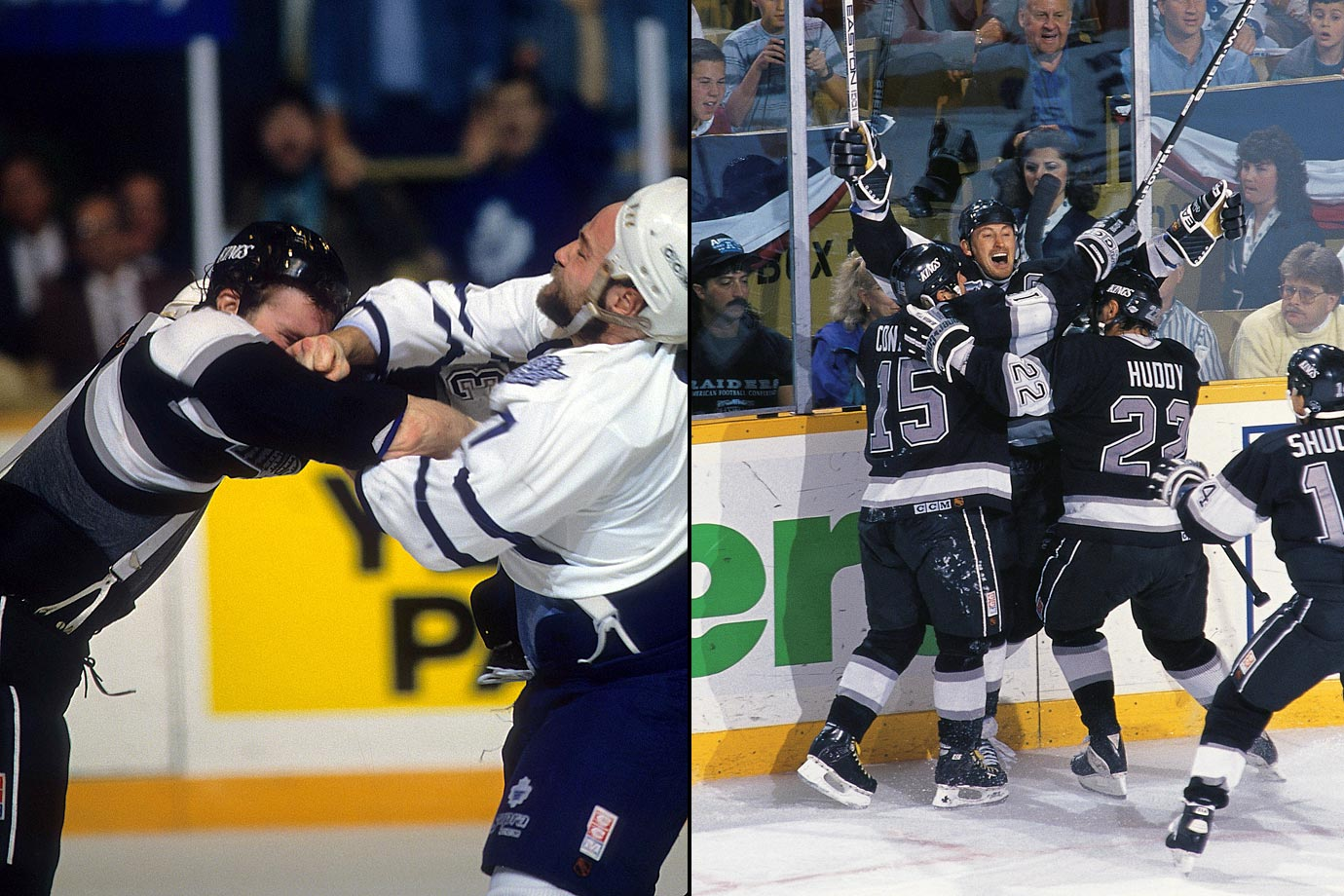 Peak Wendel Clark vs. the Great One at his best. The seven games were Old Testament violent, the hockey intense and emotional. Toronto's star forward was a wrecking ball, winning an in an epic tilt with enforcer Marty McSorley in Game 1, then scoring a memorable hat trick in Game 6 that could have clinched the series. Instead a missed high sticking call on Gretzky gave the Kings life and kept him in the game long enough to score the OT winner, setting up Game 7 in Toronto. Gretzky again rose to the occasion, netting a hatty of his own in L.A.'s 5-4 win. He later called his performance the best of his NHL career.