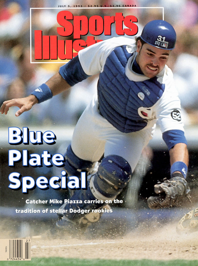 Mike Piazza appears on his first SI cover in July 1993.