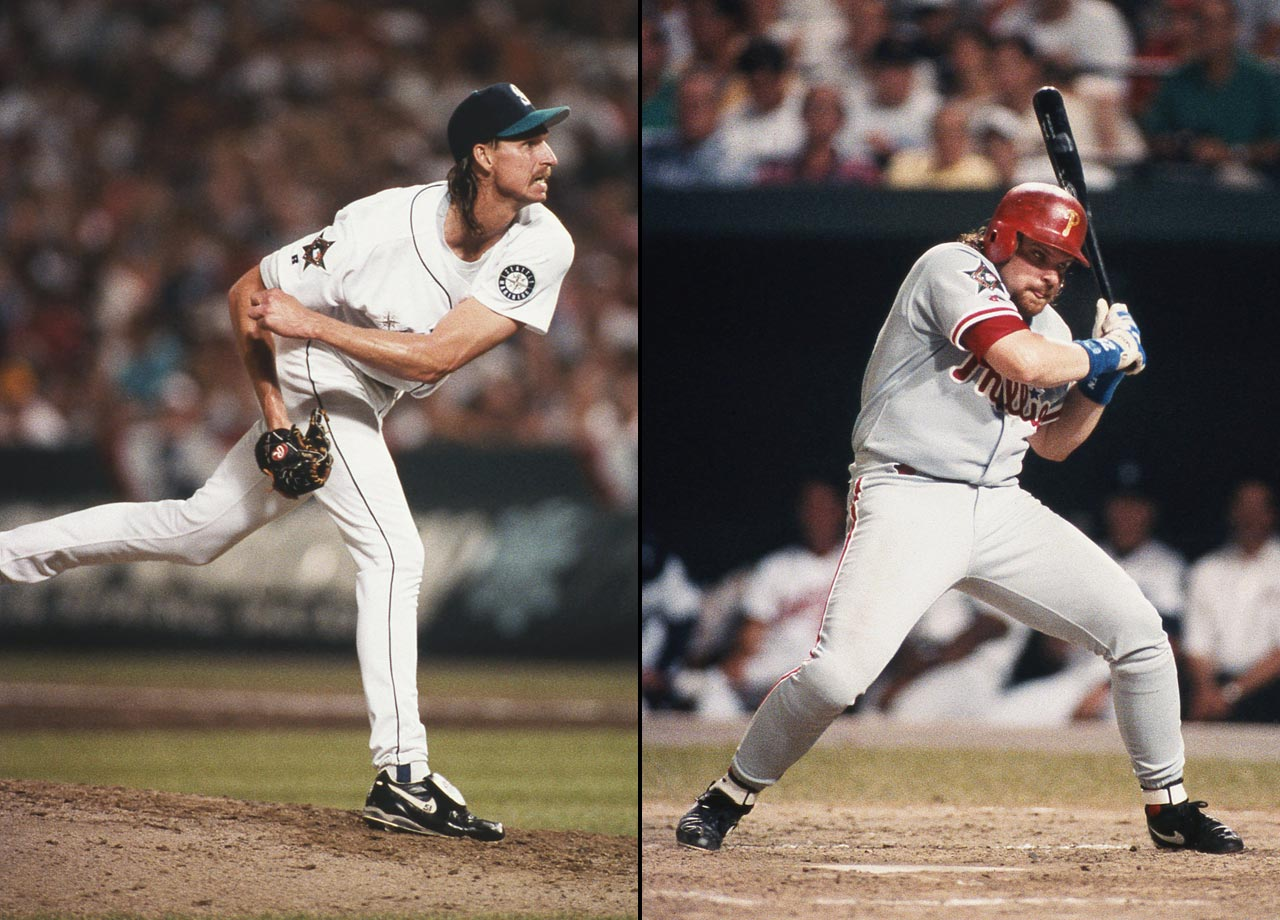 One of the most vivid images of Randy Johnson's career is the first pitch fastball he flung over the head of John Kruk to the backstop. A spooked Kruk took the rest of his at-bat practically outside the batter's box and struck out.
