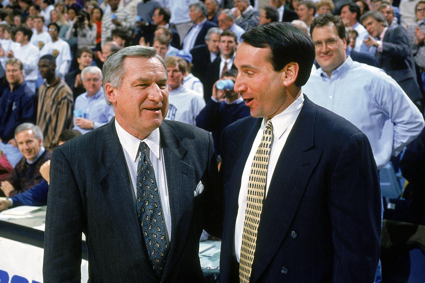 Dean Smith and Mike Krzyzewski