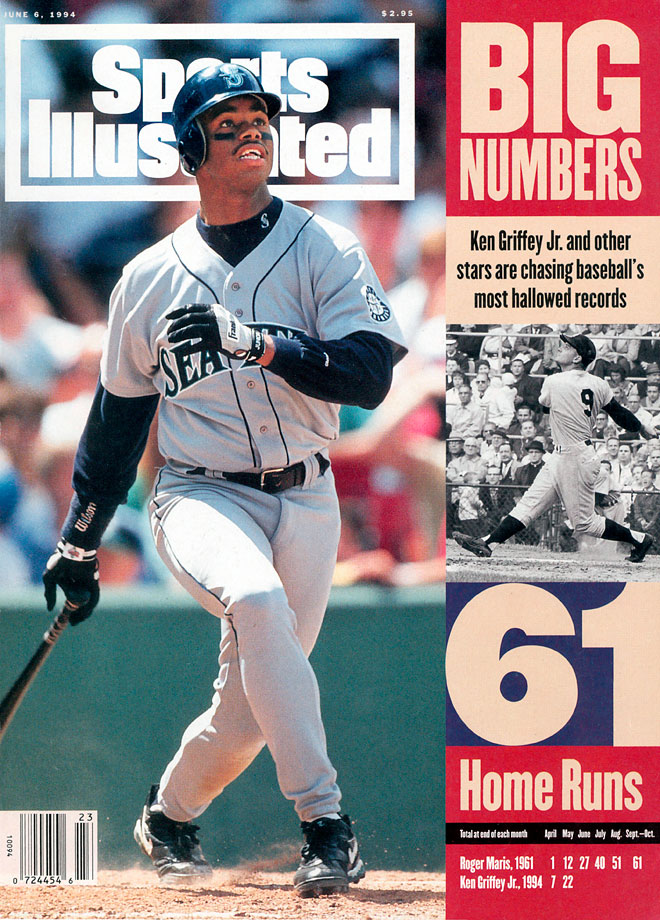 Ken Griffey Jr. appears on the June 6, 1994 cover of Sports Illustrated, after hitting 29 home runs in the first two months of the season. The MLB season ended prematurely on Aug. 12 due to a labor dispute, although Griffey had cooled off a bit at that point with 40 home runs on the year.