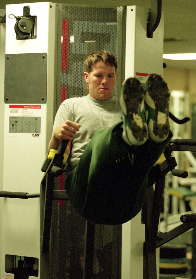 Favre works out in the gym at Don Hutson Center in Green Bay.