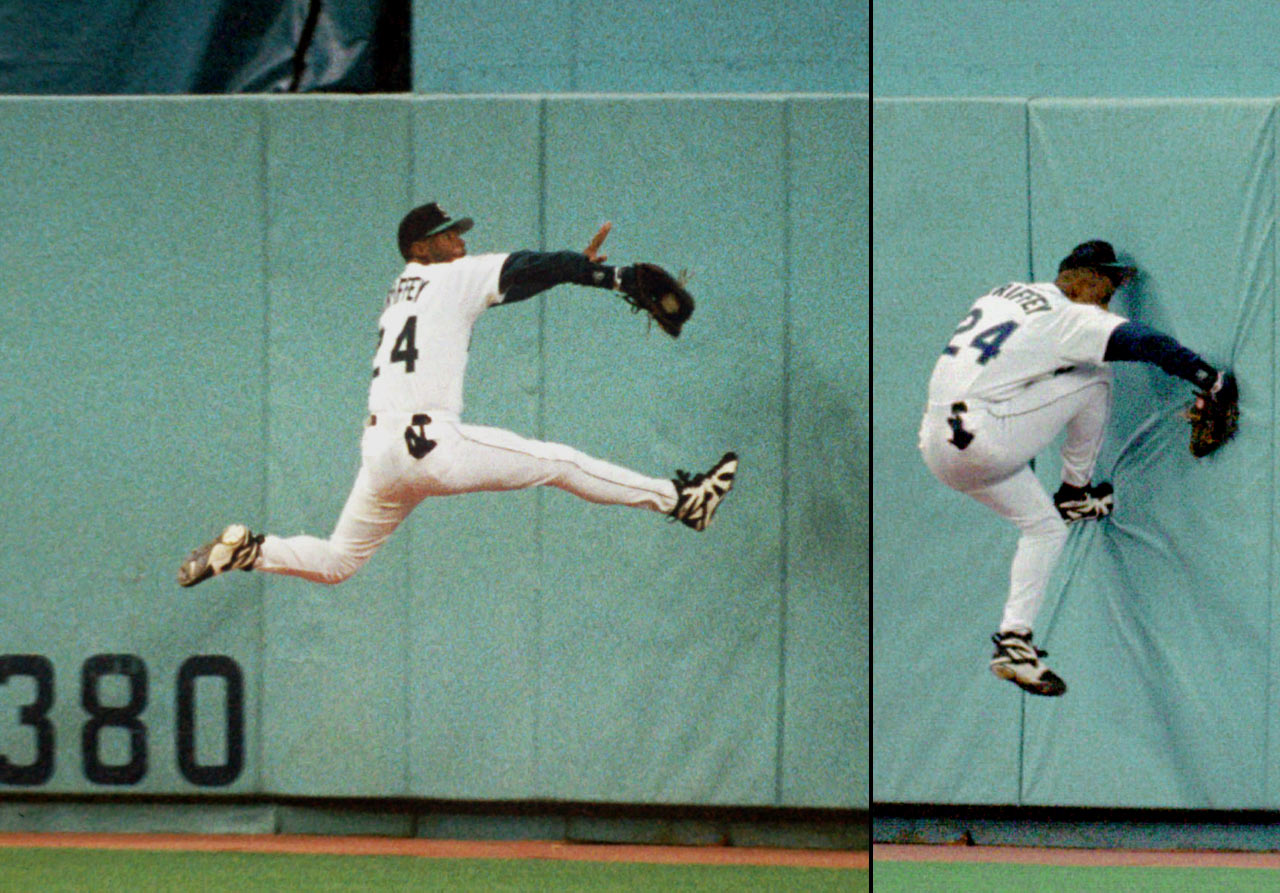 Ken Griffey Jr. quickly became one of the best defensive players in the game, winning 10 consecutive AL Gold Glove awards from 1990 to '99. On this catch in May 1995, Griffey broke his wrist and missed 73 games.
