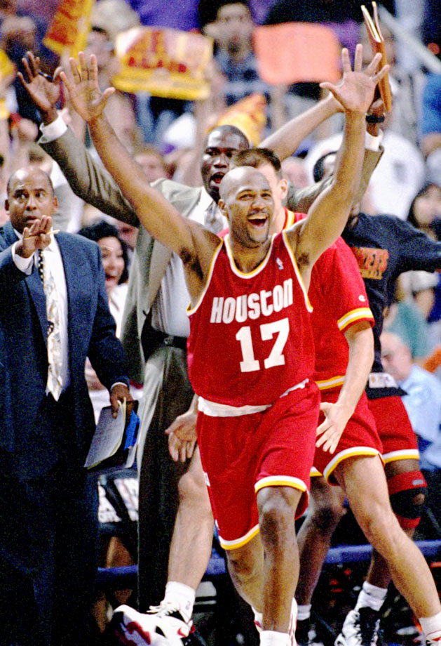 """Mario Elie nailed a go-ahead three-pointer from the corner with 7.1 seconds left, known as the """"Kiss of Death,"""" as the Rockets won Game 7 115-114 at Phoenix, en route to claiming a second straight NBA title."""