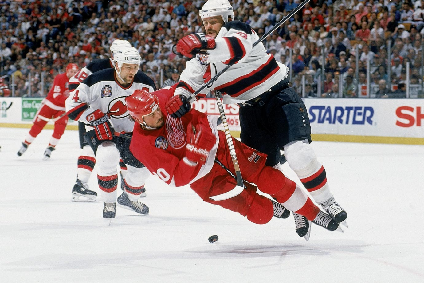 Bone-jarring defense has been a hallmark of New Jersey's three Stanley Cup championship teams, the first of which swept the Red Wings in the '95 final, thanks to hits like the one Devils blueliner Ken Daneyko delivered to Detroit's Martin Lapointe in Game 3.