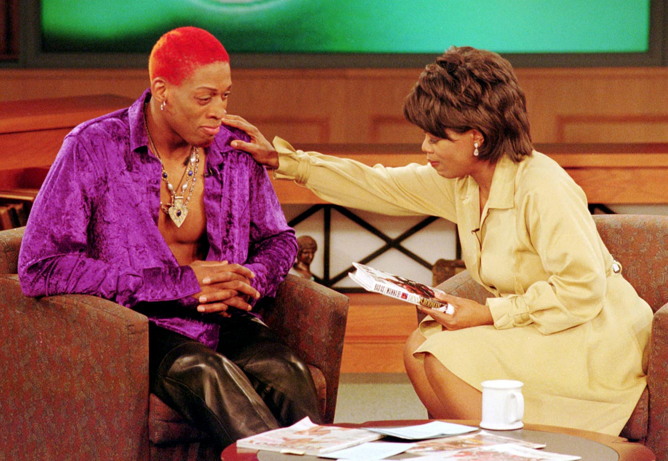 Rodman and his red hair paid Oprah a visit in 1996.