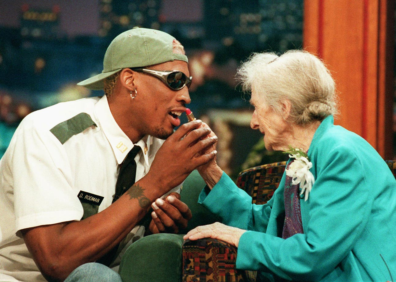 "During an appearance on ""The Tonight Show with Jay Leno"" in '96, Rodman had lipstick applied by 100-year-old Avon lady Rosie Gries."