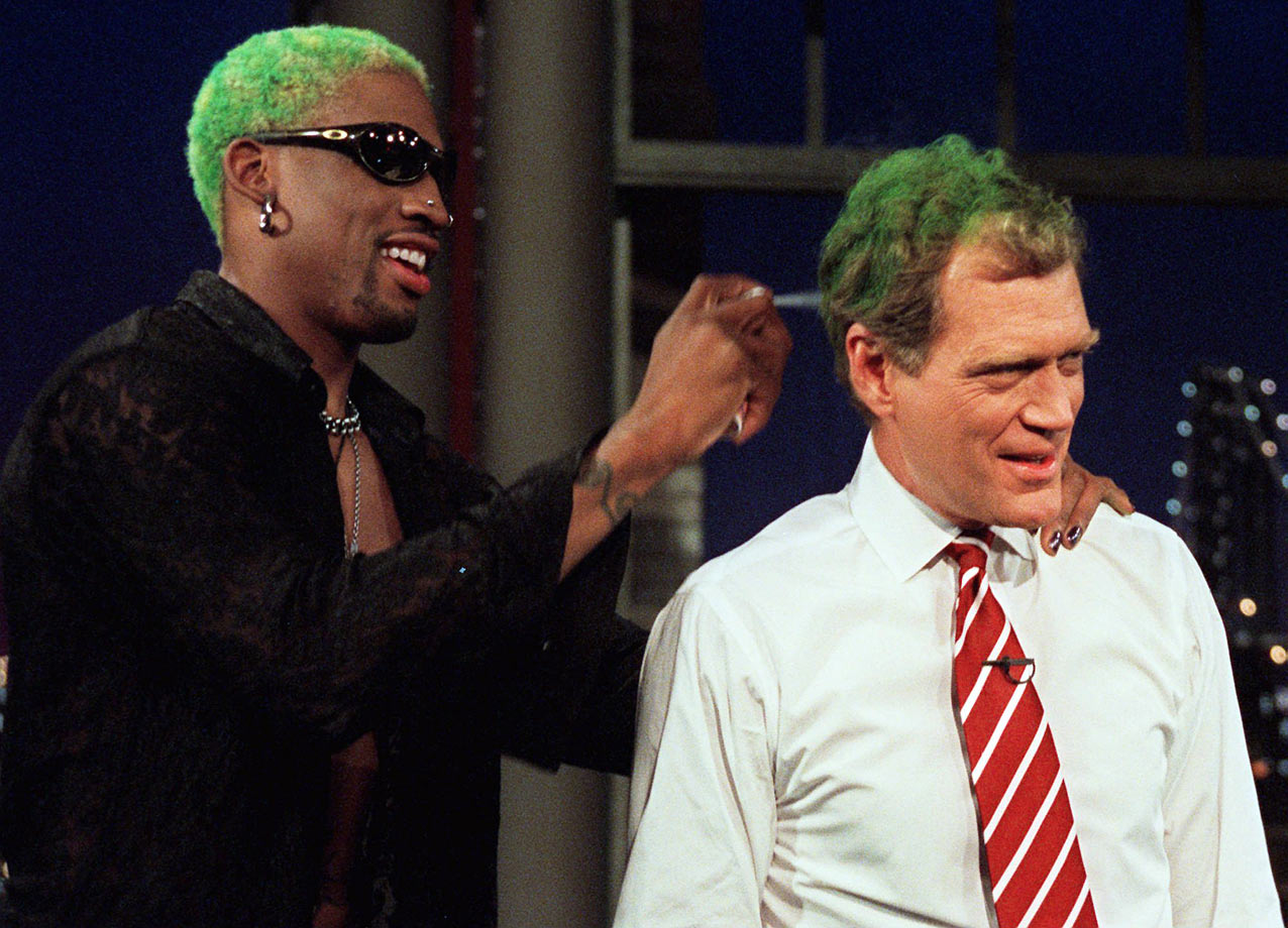 "Rodman and Letterman had a friendly male bonding session on ""The Late Show"" in 1996."