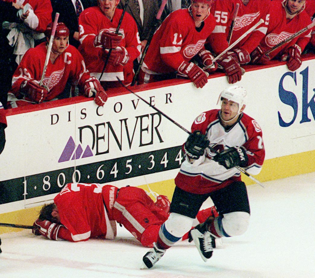 The Red Wings came in as heavy favorites, having won an NHL-record 62 games during the regular season, but it was the second-ranked Avalanche who advanced and went on to win the Cup. The six-game set was defined by a vicious head shot delivered by Claude Lemieux against Detroit's defenseless Kris Draper in the first period of the finale. Colorado won the game 4-1, but the gruesome injuries suffered by Draper provided the Franz Ferdinand moment that ignited an epic rivalry between the two Western Conference foes.