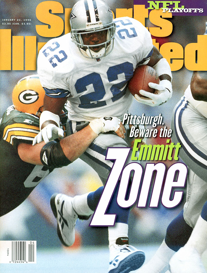 Running back Emmitt Smith rushed for 150 yards and three touchdowns to help the Cowboys overcome a 27-24 fourth quarter deficit to win 38-27. It was the third straight year Dallas eliminated the Packers from the playoffs.