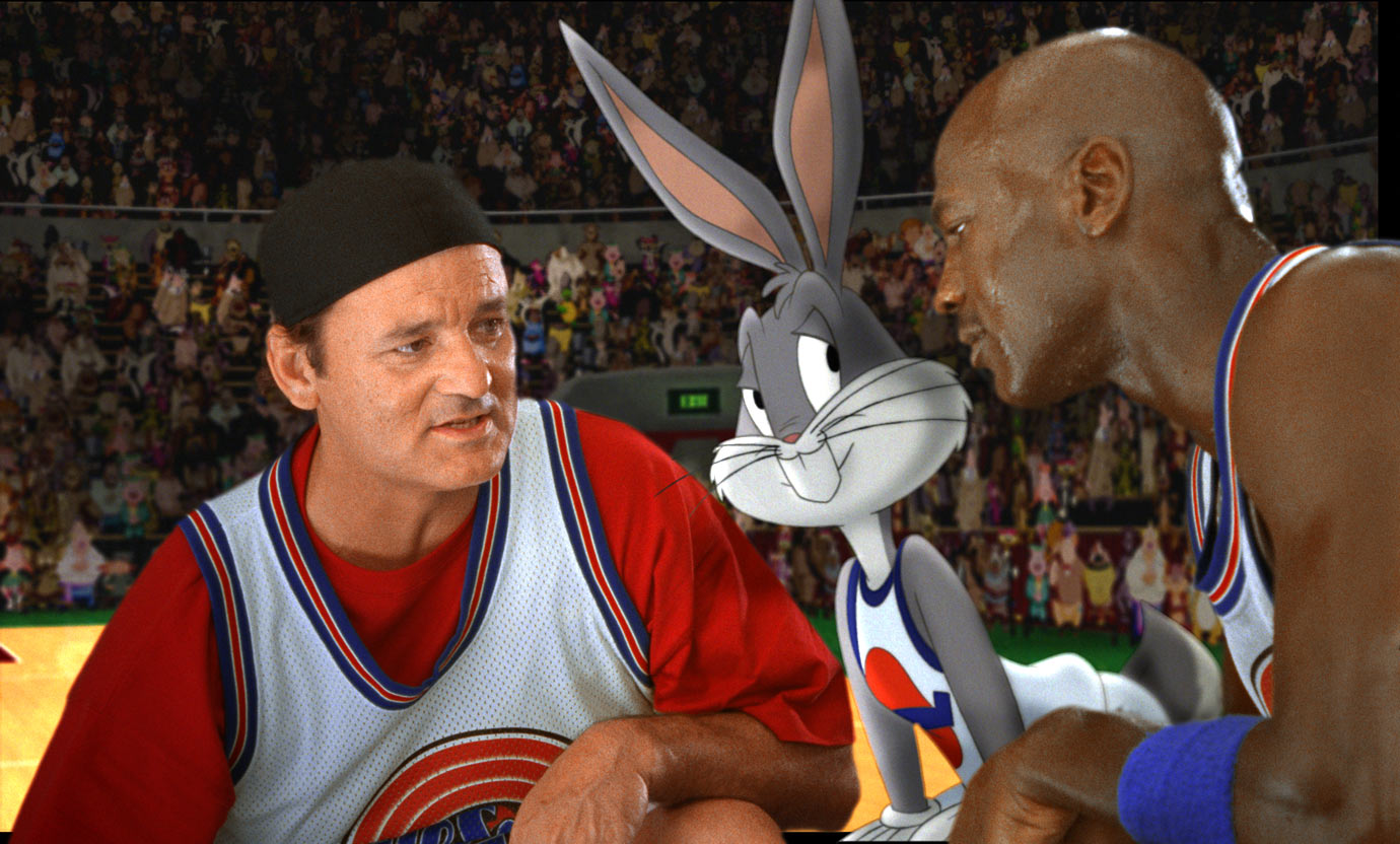 Bill Murray appears in the 1996 film 'Space Jam' alongside Bugs Bunny and Michael Jordan.