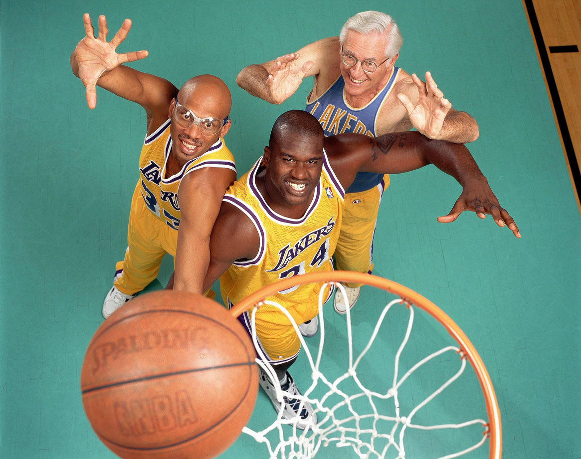 with Shaquille O'Neal and George Mikan