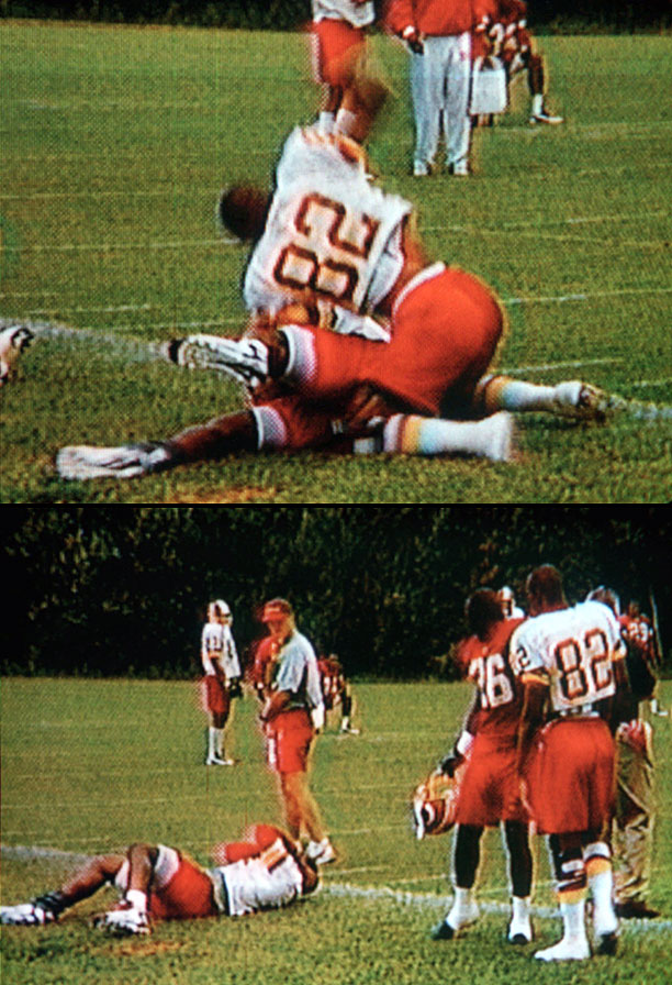 Wideout Westbrook snapped during the Redskins' 1997 training camp, attacking Davis, who had allegedly uttered gay slurs, and beating the running back repeatedly in an ugly incident that was caught on camera. The Redskins fined Westbrook $50,000.