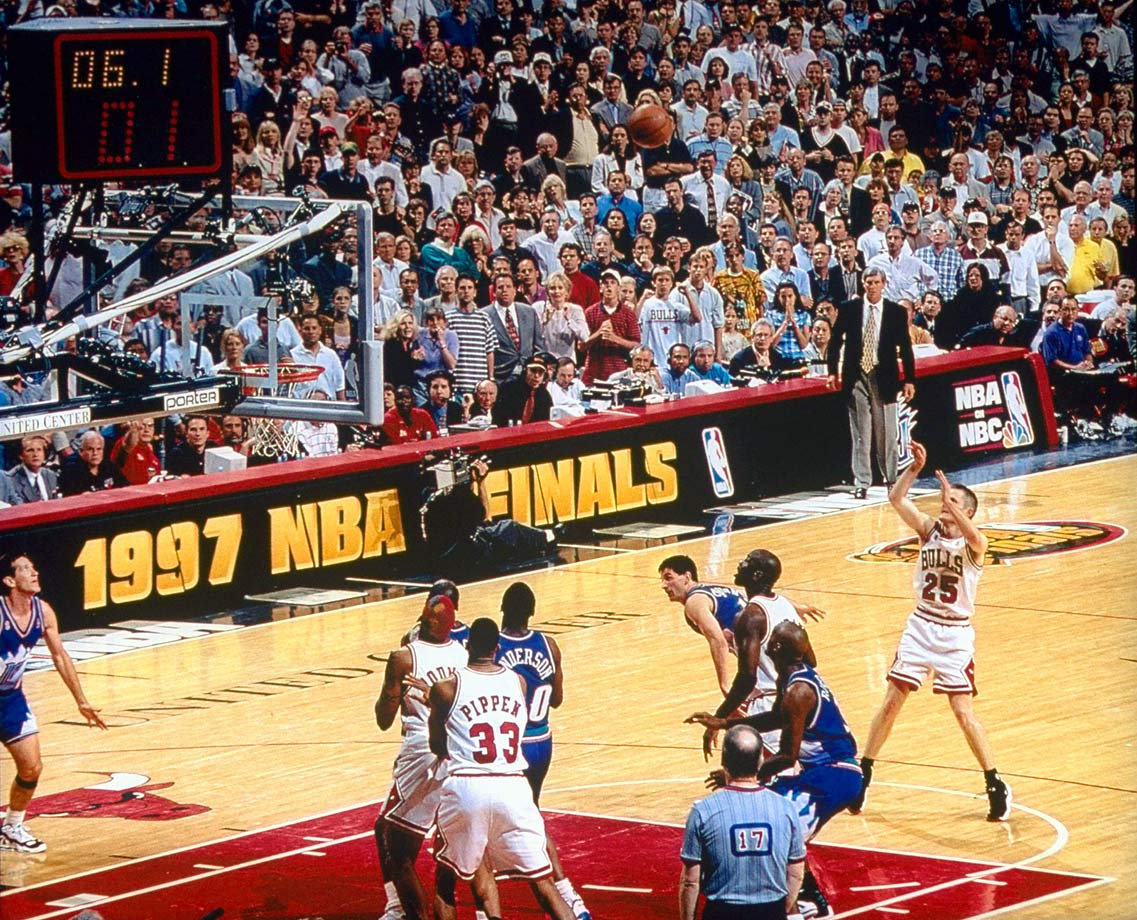 Four years after another sharpshooter (John Paxson) provided the Finals-winning jump shot for the Bulls in a Game 6 (at Phoenix), Steve Kerr did the same with a mid-range J against the Jazz in Chicago.
