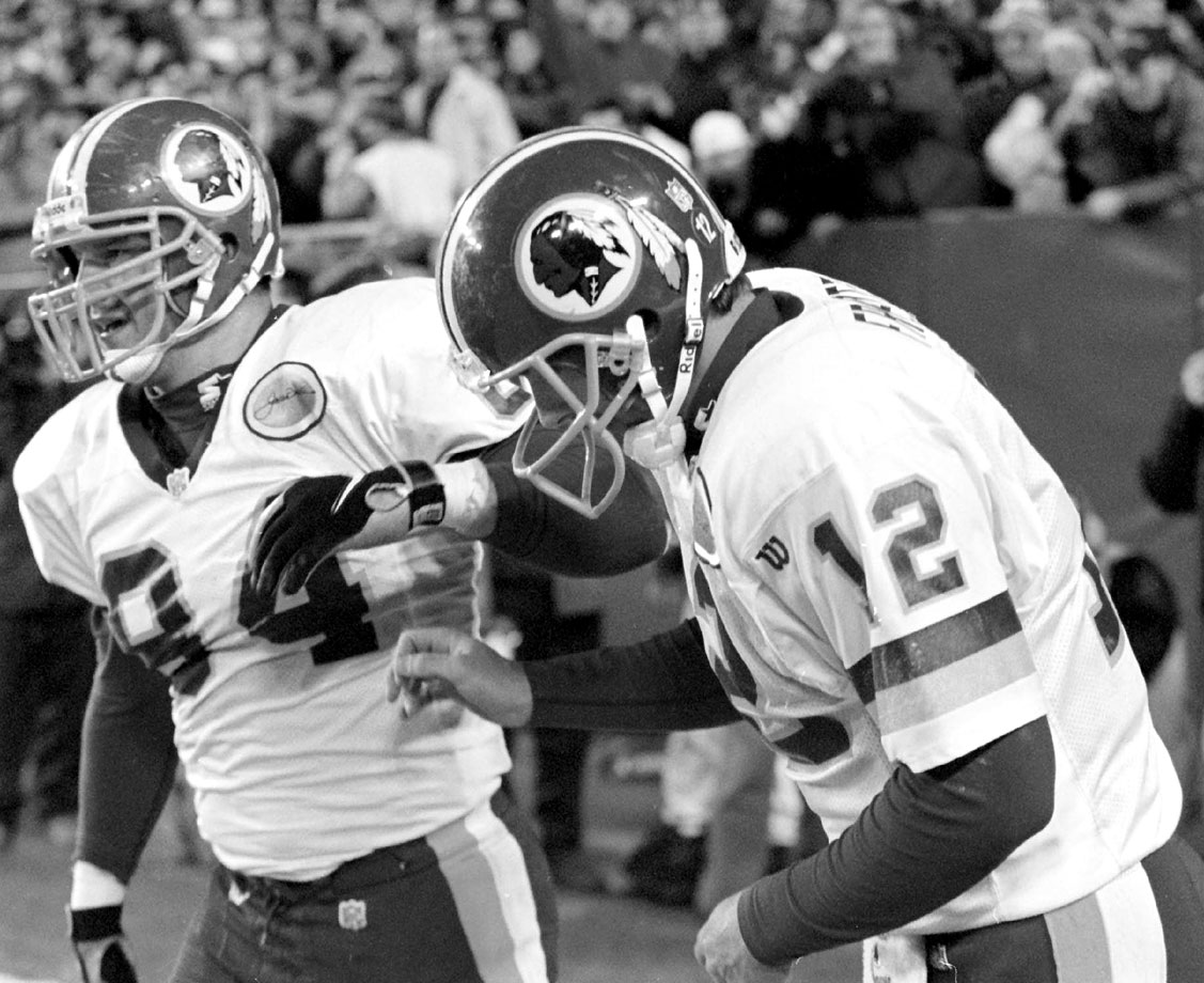 The Redskins' quarterback sprained his neck after headbutting the end zone wall following his one-yard touchdown run against the Giants on Nov. 23, 1997.