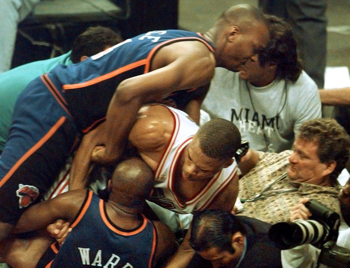 Miami won Game 5 96–81, which was highlighted by a brawl that started when P.J. Brown objected to Charlie Ward's attempt to gain position for a rebound. During the brawl, Patrick Ewing, Allan Houston, Larry Johnson and John Starks left the bench; the league punished them for this by handing out 1-game suspensions spread out over the series' final 2 games. Shorthanded by the suspensions, the Knicks lost Games 6 and 7, 95–90 and 101–90 respectively.