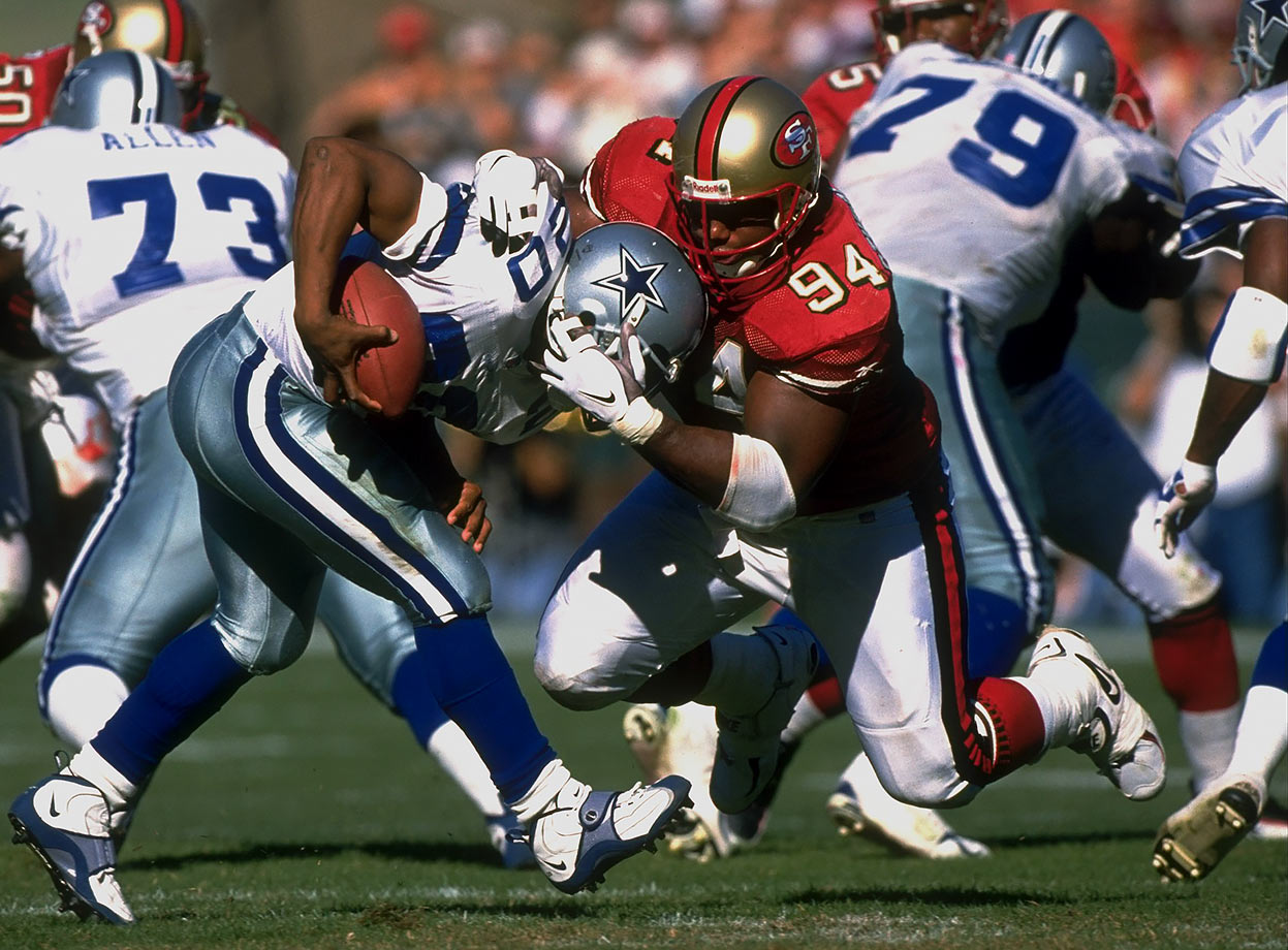 It's remarkable that after losing Jerry Rice to injury for 14 weeks in a season-opening 13-6 loss to Tampa Bay and Steve Young suffering yet another concussion the same game, the Niners rebounded and won their next 11. Give credit to a defense led by defensive tackle Dana Stubblefield, which held seven of the 11 victims to 12 points or fewer.