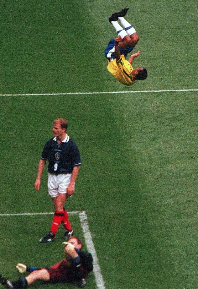Brazilian right back Cafu does a back flip after Brazil scored against Scotland in the 1998 World Cup.