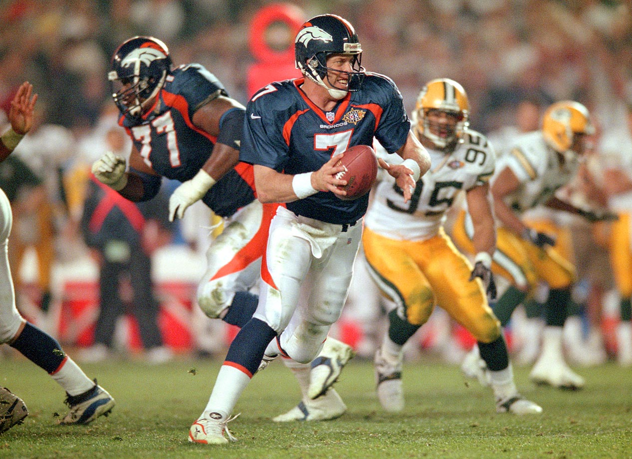 In his fourth try, John Elway finally won a Super Bowl, knocking off the defending Super Bowl champion Green Bay Packers in the process.