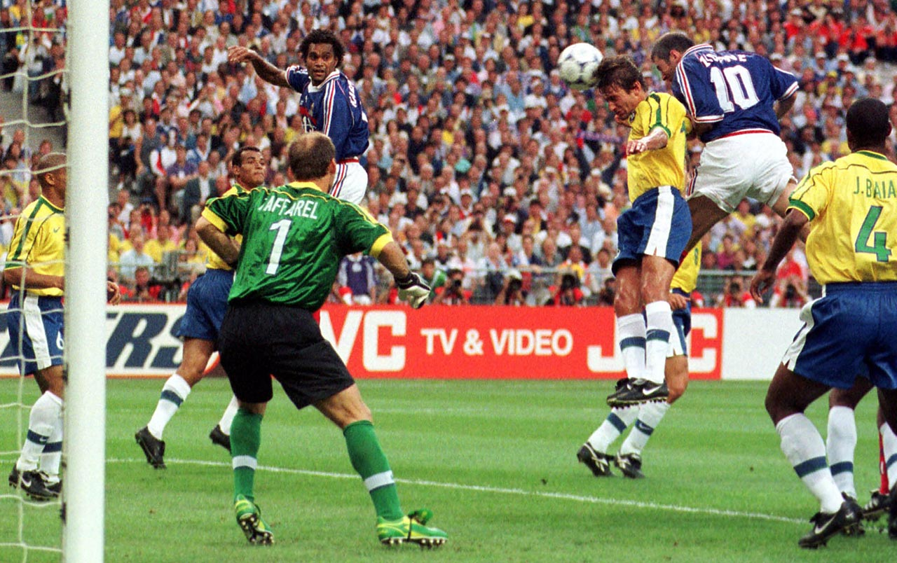 Zinedine Zidane heads home France's first goal in the 1998 World Cup final.