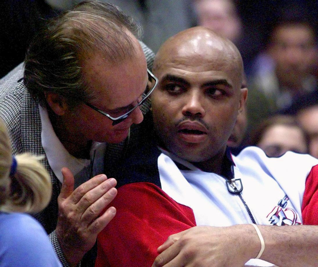 Jack Nicholson chats with Charles Barkley during Game 2 of the Lakers-Rockets first round playoff series. Barkley scored 19 points with 13 rebounds in Houston's 110-98 loss as the Lakers went on to win the series in four games. Barkley is one of the best players in NBA history to not win a championship.