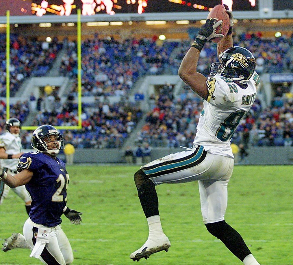 Jimmy Smith led the league in receptions (116) and finished second in receiving yards (1,636) as Tom Coughlin's Jaguars won the AFC Central with a 14-2 record. Jacksonville won its first two games before losing 20-19 to Tennessee, then won the 11 straight before falling to Tennessee again (41-14). Adding insult to injury, Tennessee defeated the Jaguars again in the AFC Championship game, denying Jacksonville a trip to the Super Bowl.