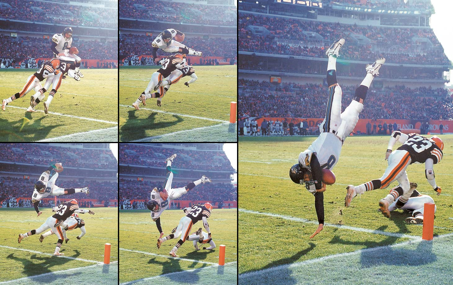 Jaguars quarterback Mark Brunell went up and over two Browns to reach the end zone in Cleveland.
