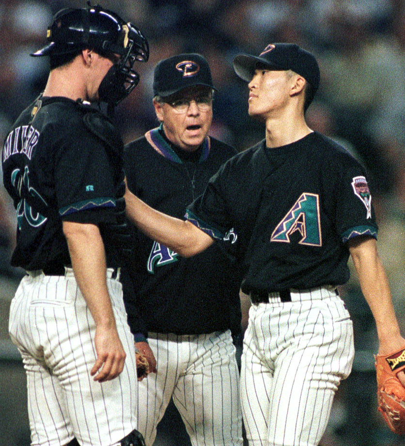 D'Backs 20-year-old rookie reliever Byung-Hyun Kim got ejected from a game with the Cubs when a bandage that contained heat balm fell from his shirt sleeve. Kim said he used the bandage when he pitched in Korea and had simply forgotten to remove it.