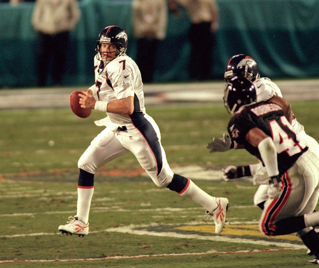 In the final game of his NFL career, John Elway, 38, became the oldest played to be named MVP of the game, completing 18 passes for 336 yards with one touchdown and one interception. He ran in for another score.