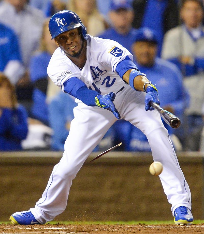 Shortstop Alcides Escobar breaks his bat.