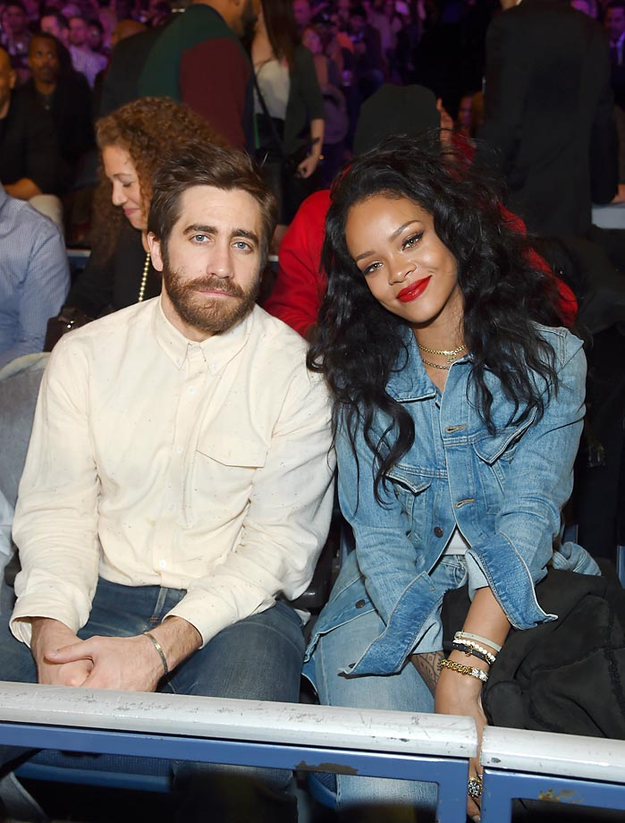 Jake Gyllenhaal and Rihanna attend Roc Nation Sports Presents: throne boxing at The Theater at Madison Square Garden.
