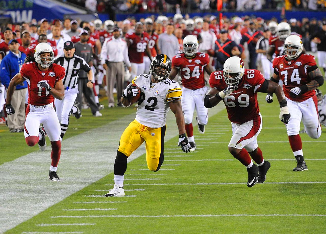 Pittsburgh Steelers linebacker James Harrison beats the Arizona Cardinals in a foot race as he returns a Kurt Warner interception 100 yards for a touchdown. Harrison's interception return, which came on the last play of the second quarter, is the longest play in Super Bowl history and gave the Steelers a 17-7 halftime lead. Pittsburgh went on to win 27-23.