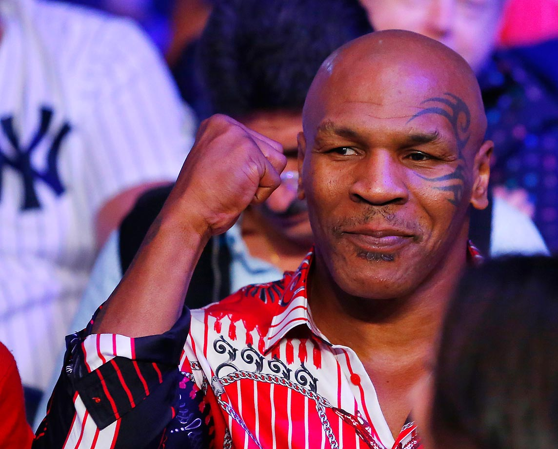 Mike Tyson attends the fight between Miguel Cotto and Sergio Martinez.